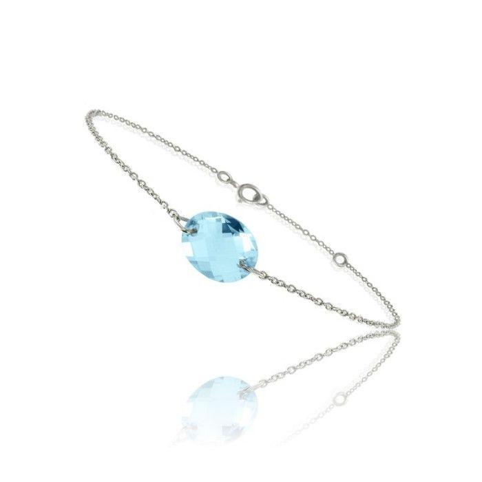 Bracelet Bellon en or blanc et topaze bleue, longueur 18cm