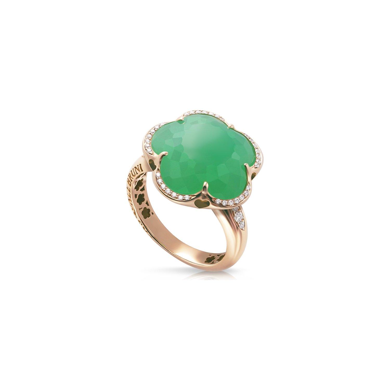 Bague Pasquale Bruni Bon Ton en or rose, chrysoprase vert foncé et diamants blancs