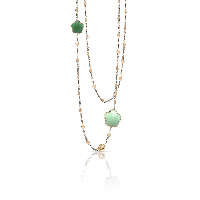 Collier Pasquale Bruni Bon Ton en or rose, chrysoprase vert clair et foncé et diamants blancs