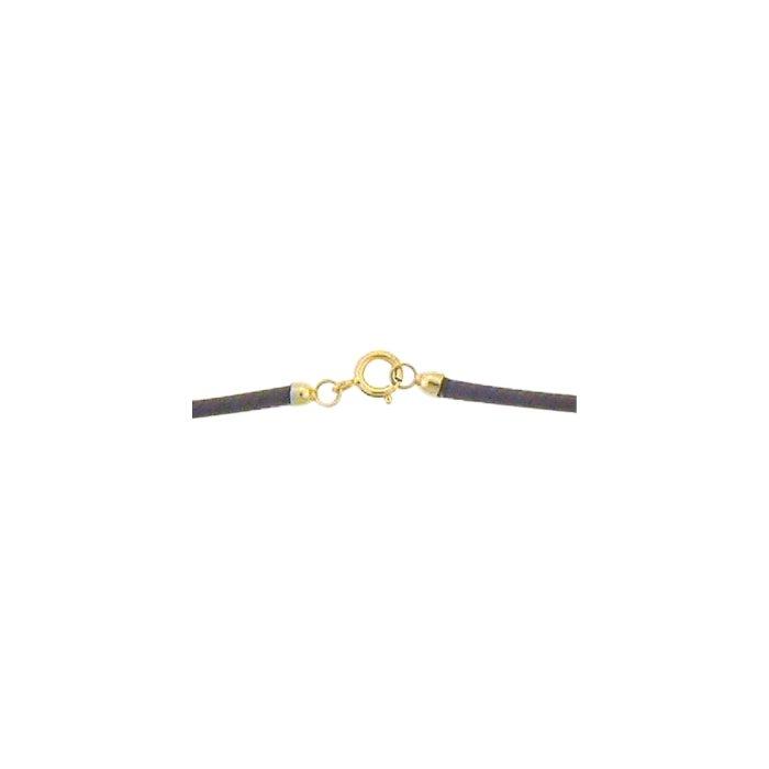 Collier sur cordon Bellon marron, fermoir en or jaune, longueur 45cm