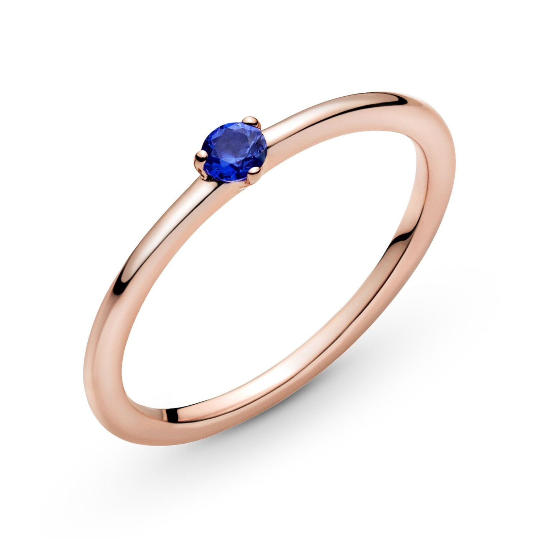 Bague Pandora Colours solitaire bleu stellaire en métal doré rose et  cristal, taille 52