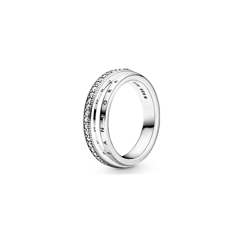 Bague Pandora Signature pavé anneau triple en argent et oxyde de zirconium,  taille 50