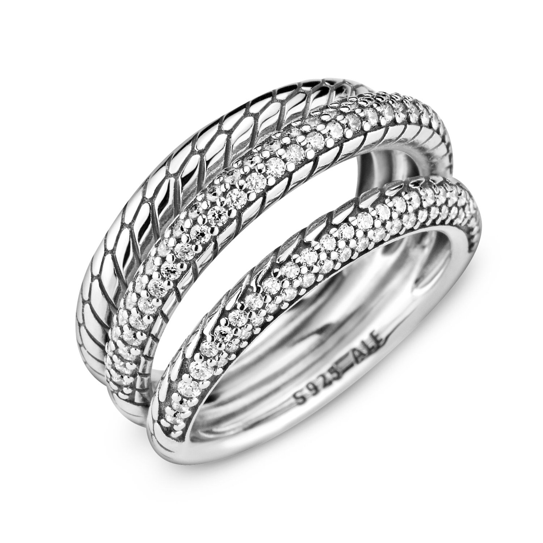 Bague Pandora Icons triple anneau motif maille serpent pavé en argent et  oxyde de zirconium, taille 52