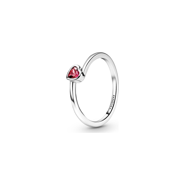 Achat Bague Pandora People solitaire cœur incliné rouge en argent et oxyde  de zirconium, taille 50