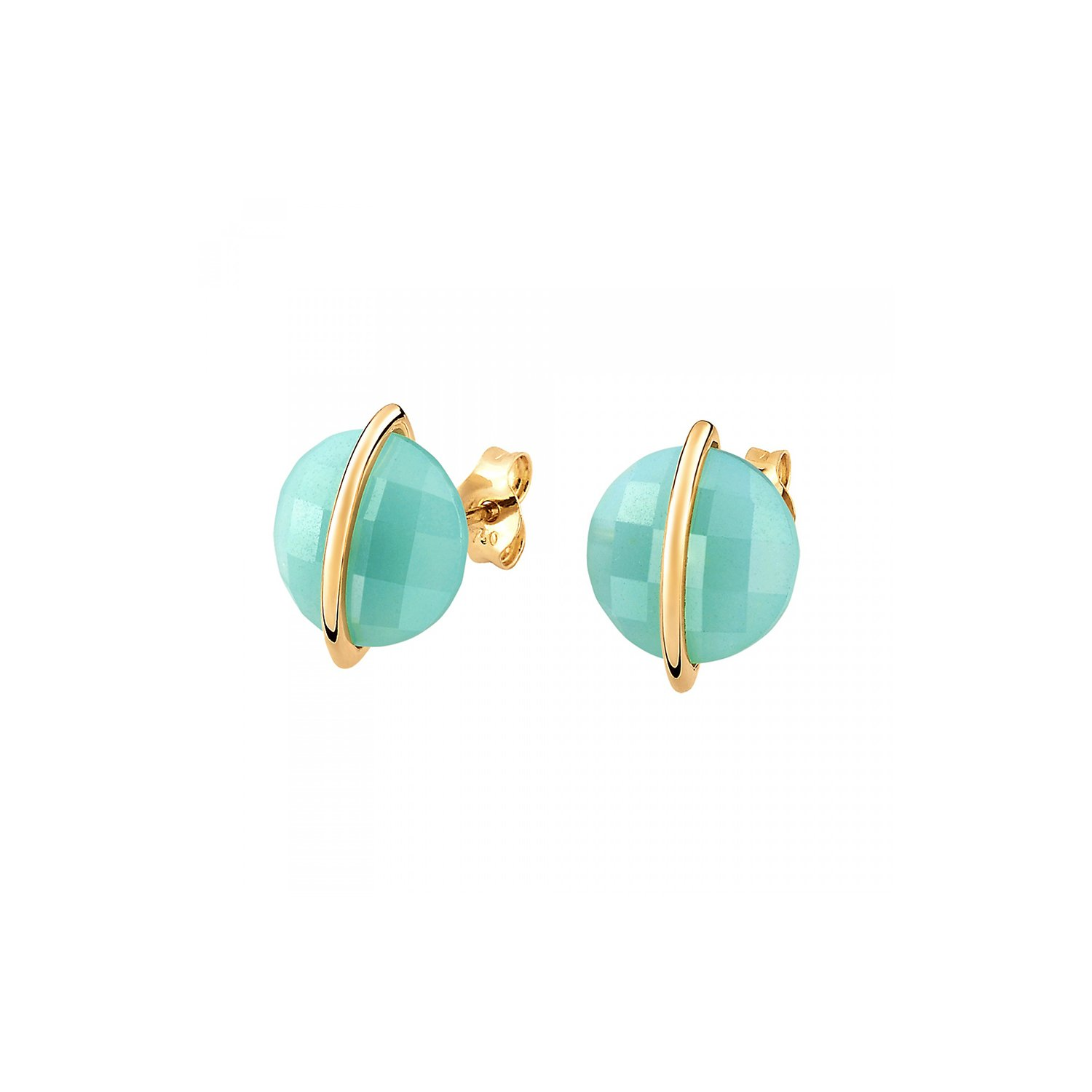 Boucles d'oreilles Morganne Bello Honoré  en or jaune et amazonite