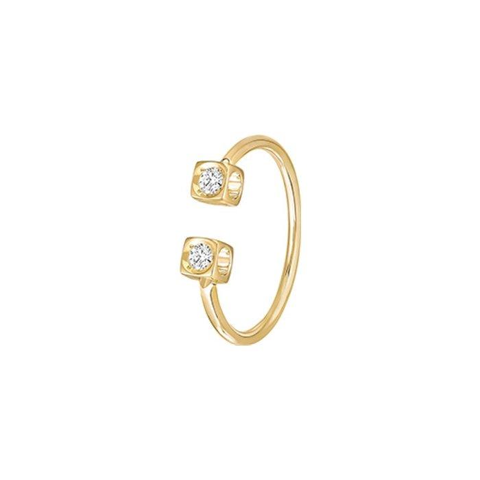 Bague dinh van Le Cube Diamant en or jaune et diamants vue 1