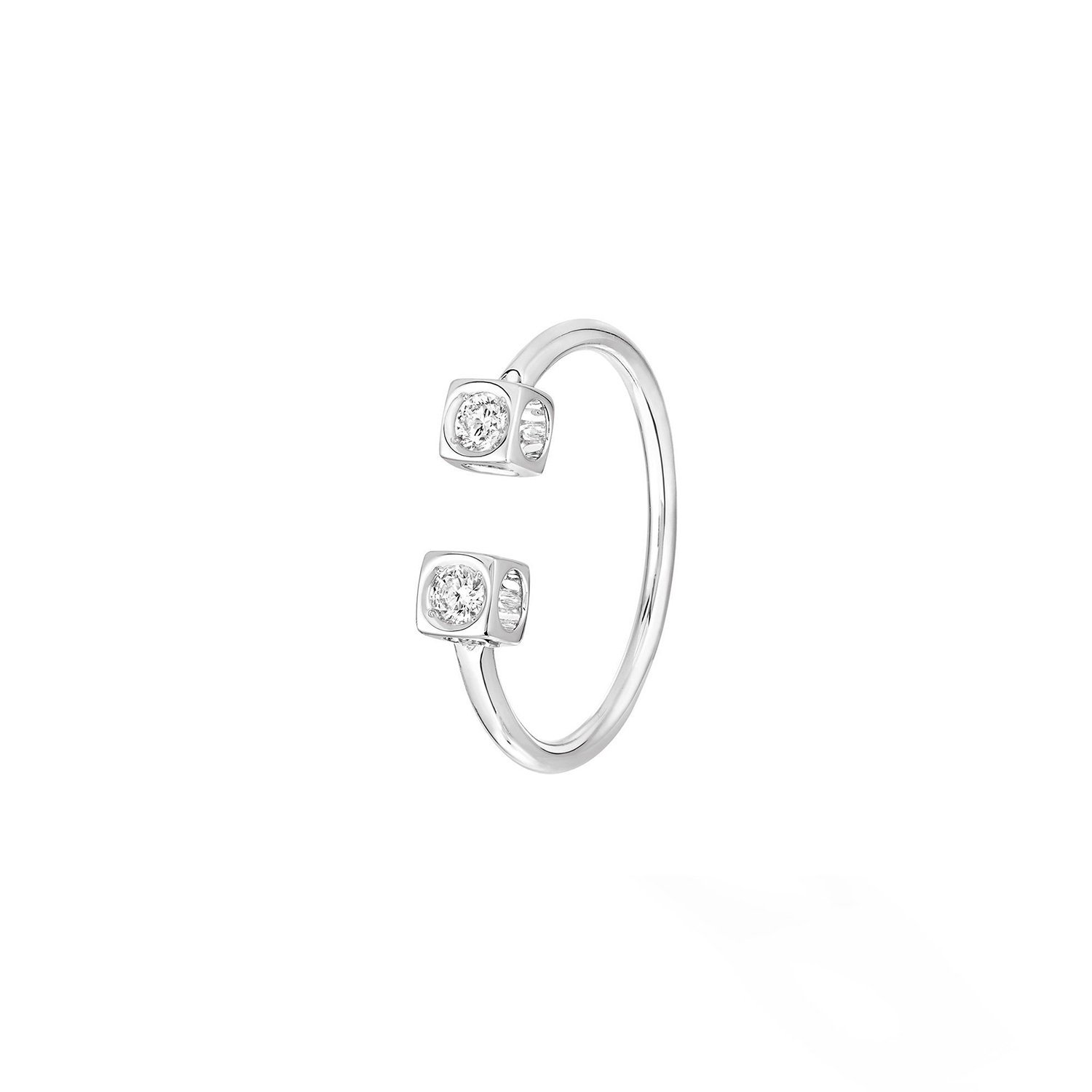 Bague dinh van Le Cube Diamant en or blanc et diamants vue 1