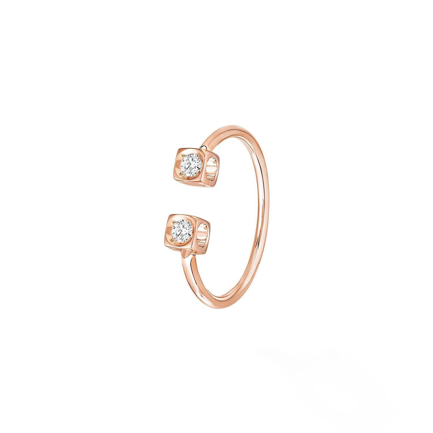 Bague dinh van Le Cube Diamant en or rose et diamants vue 1