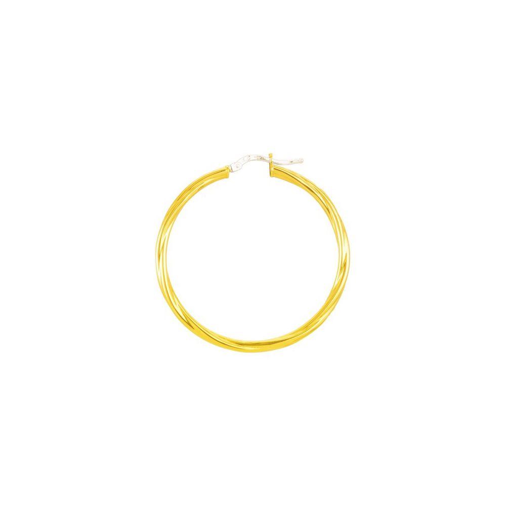 Boucles d'oreilles créoles torsadées en or jaune
