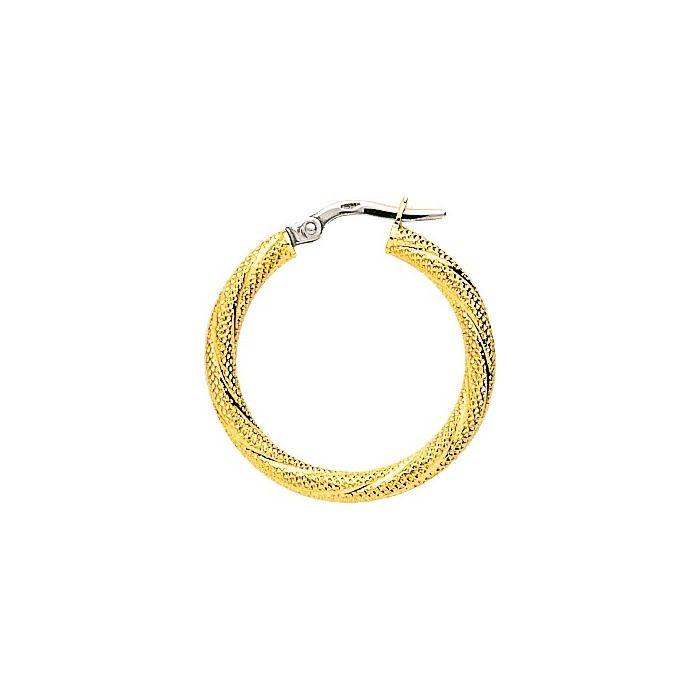 Boucles d'oreilles créoles torchon piquées en or jaune