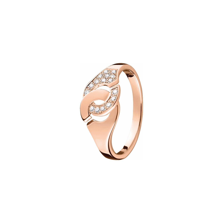 Bague dinh van Menottes dinh van R8 en or rose et diamants vue 1
