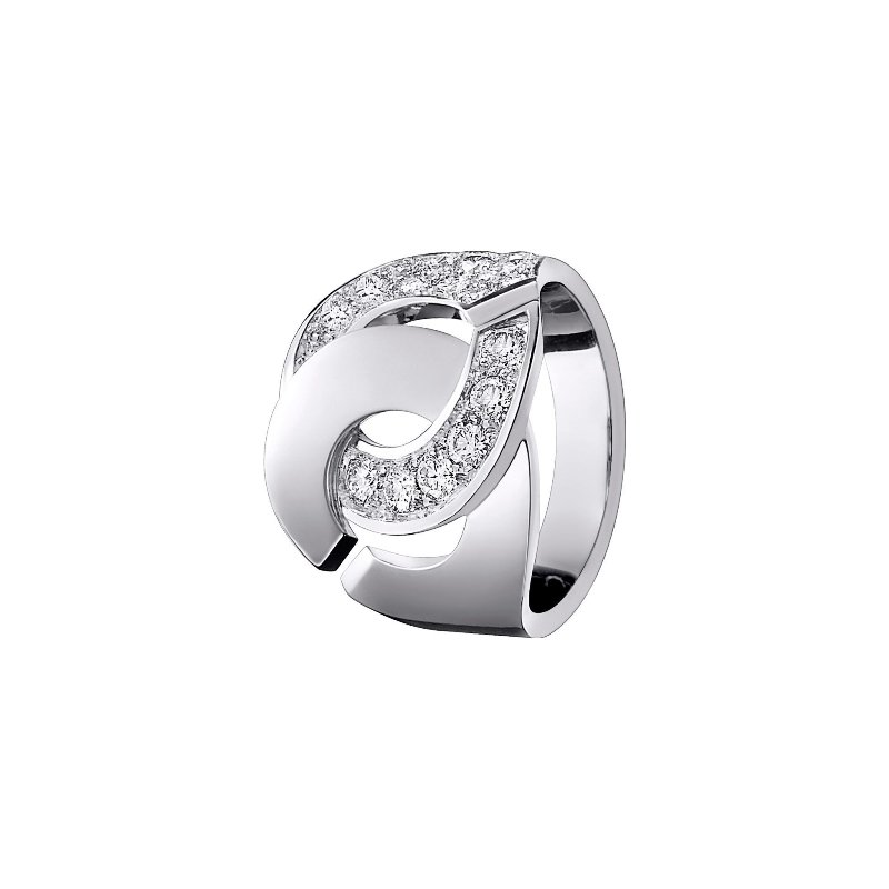 outlet sélection premium couleurs et frappant Bague dinh van Menottes dinh van R16 en Or blanc et demi Diamant