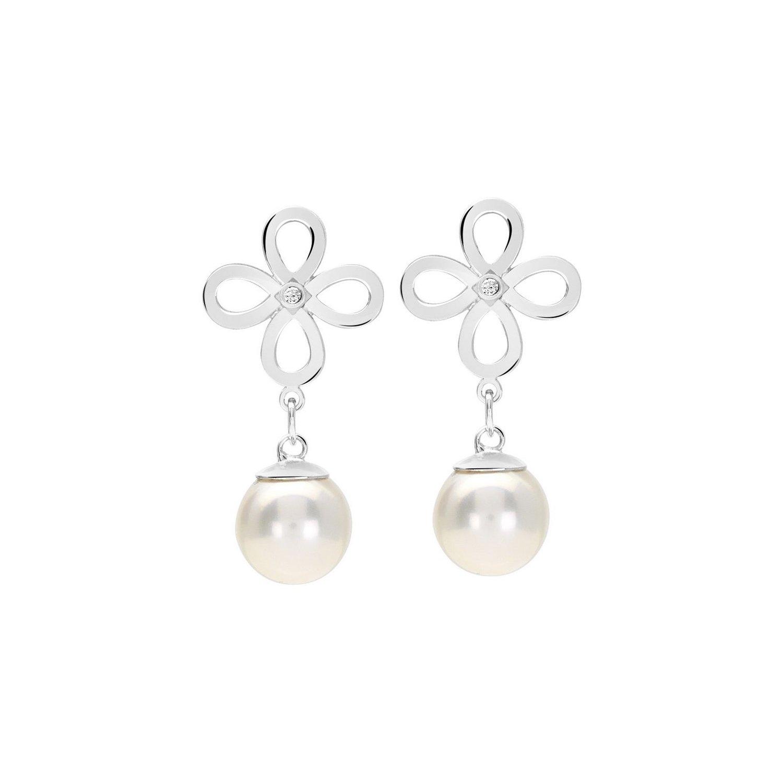 Boucles d'oreilles Murat en argent, perle et oxydes de zirconium vue 1