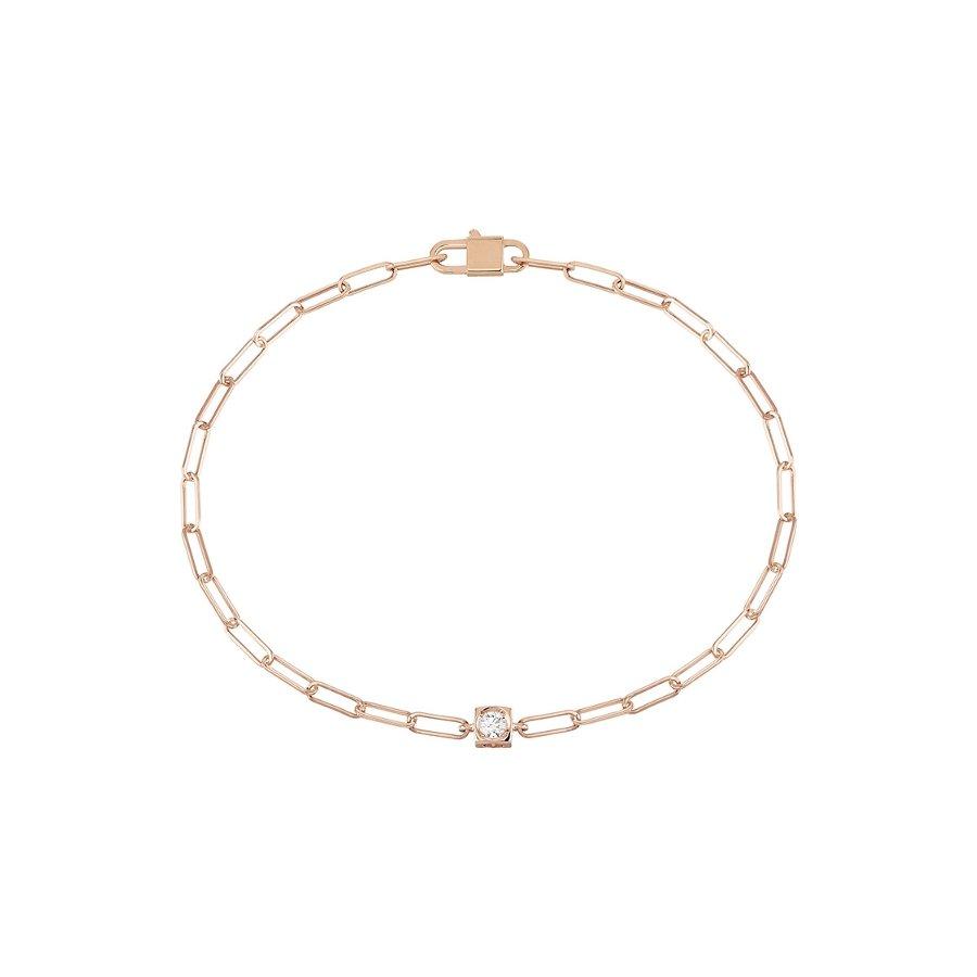 Bracelet dinh van Le Cube Diamant en or rose et diamant vue 1