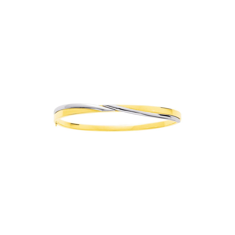 Bracelet jonc ouvert en or blanc