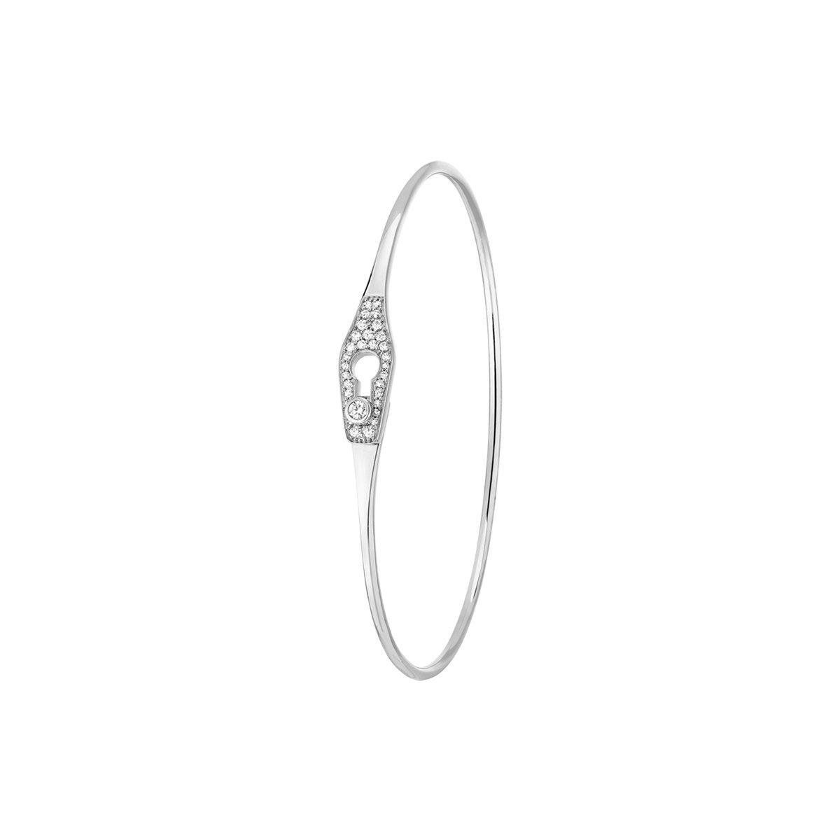 Bracelet Jonc dinh van Serrure en or blanc et diamants vue 3