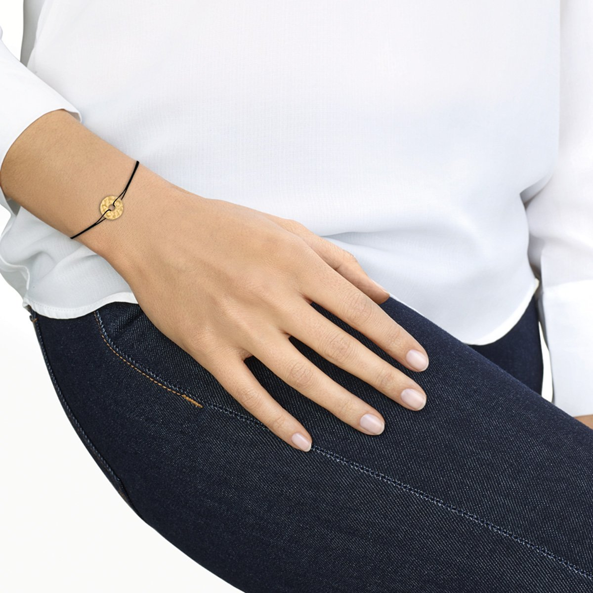 Bracelet sur cordon dinh van Pi en or jaune vue 2