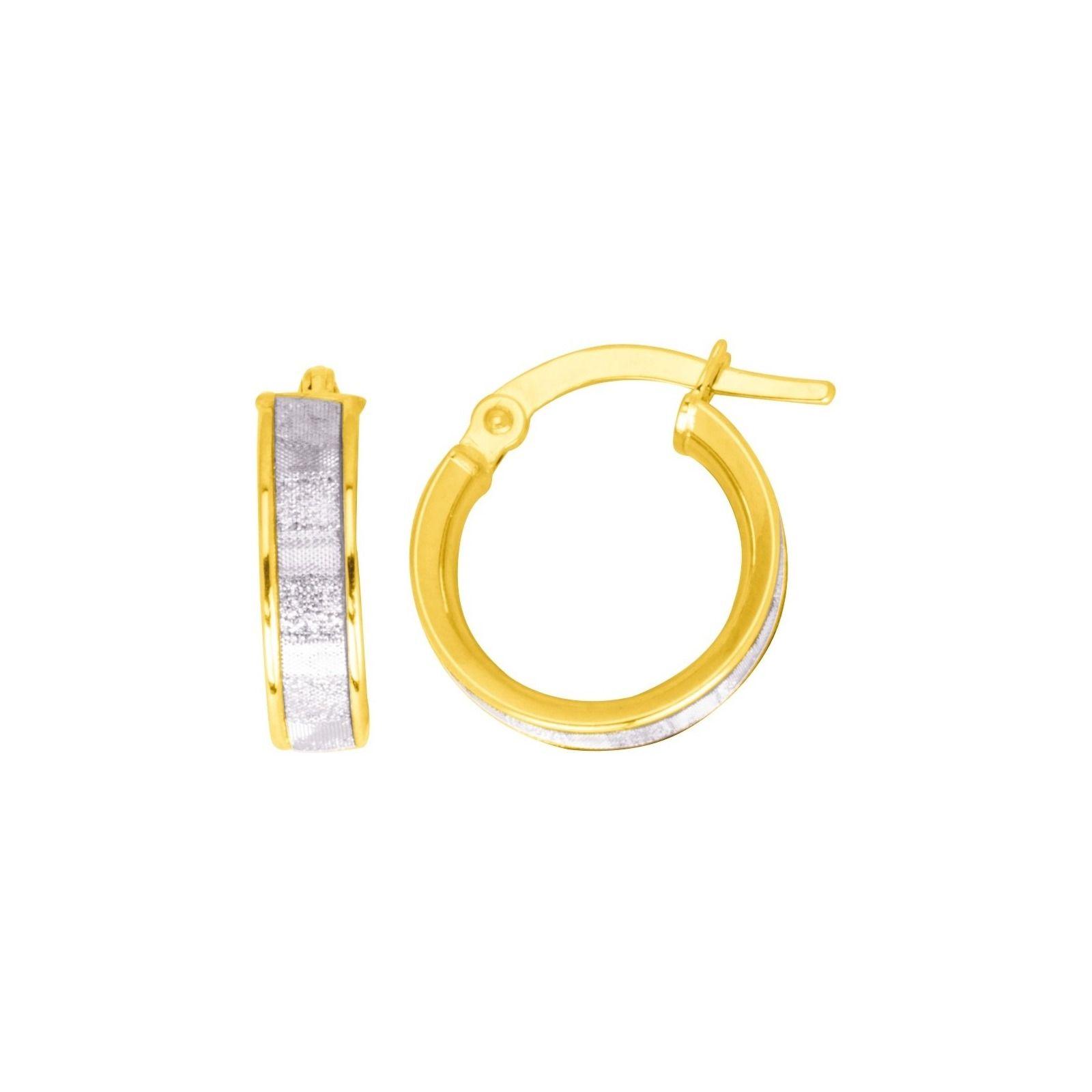 Boucles d'oreilles créoles en or jaune et or blanc et glitter