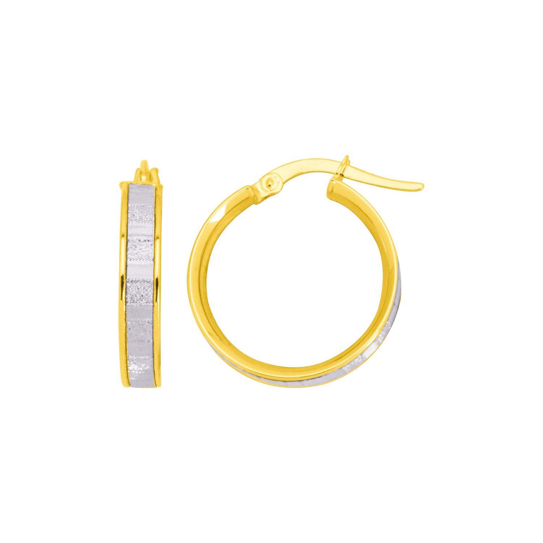 Boucles d'oreilles créoles en or jaune et or blanc