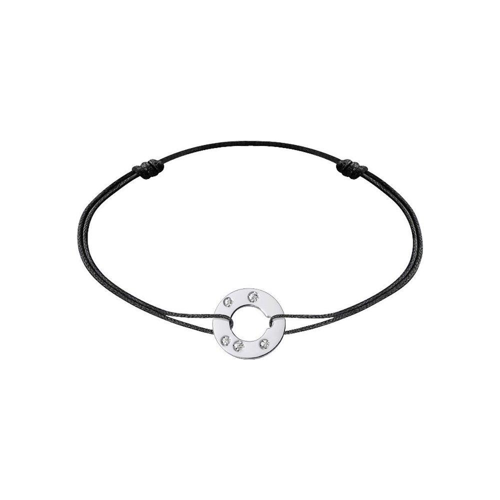 Bracelet sur cordon dinh van Cible en or blanc et diamants vue 1