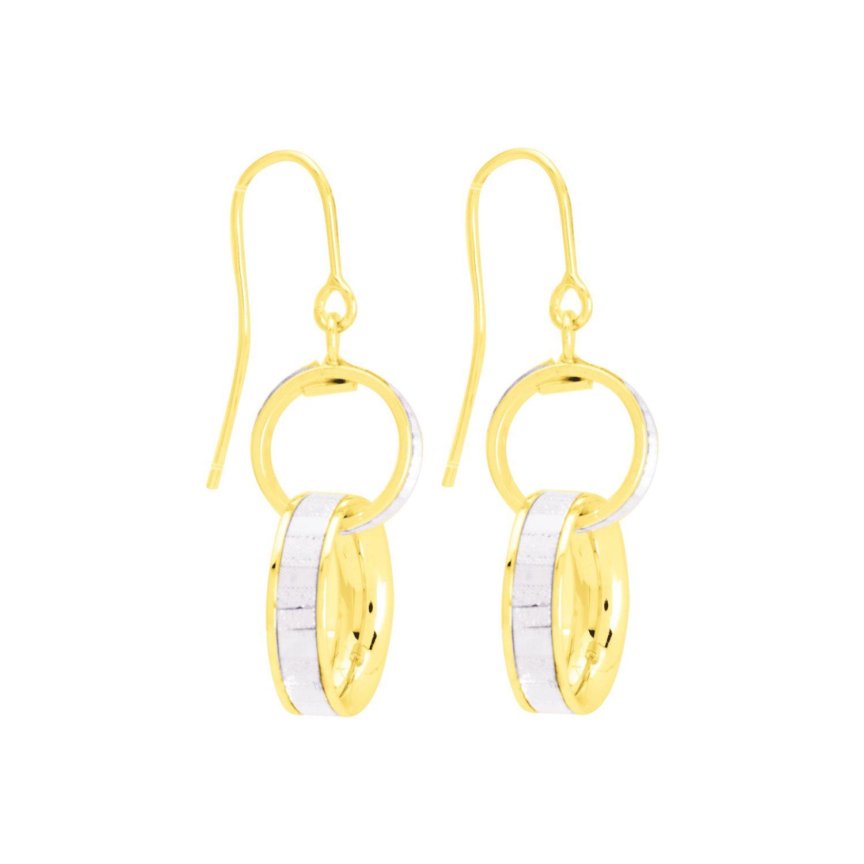 Boucles d'oreilles double anneau en or blanc
