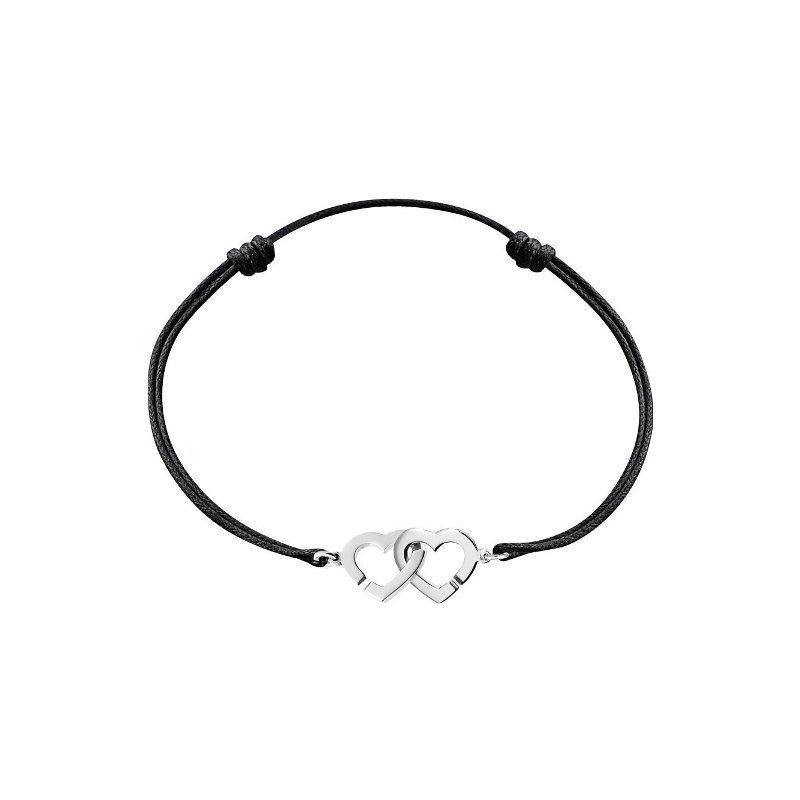 Bracelet sur cordon dinh van Double Cœurs XS en Or blanc