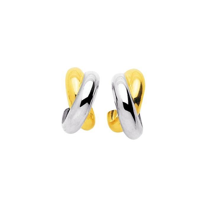 Boucles d'oreilles 1/2 anneau en or jaune et or blanc