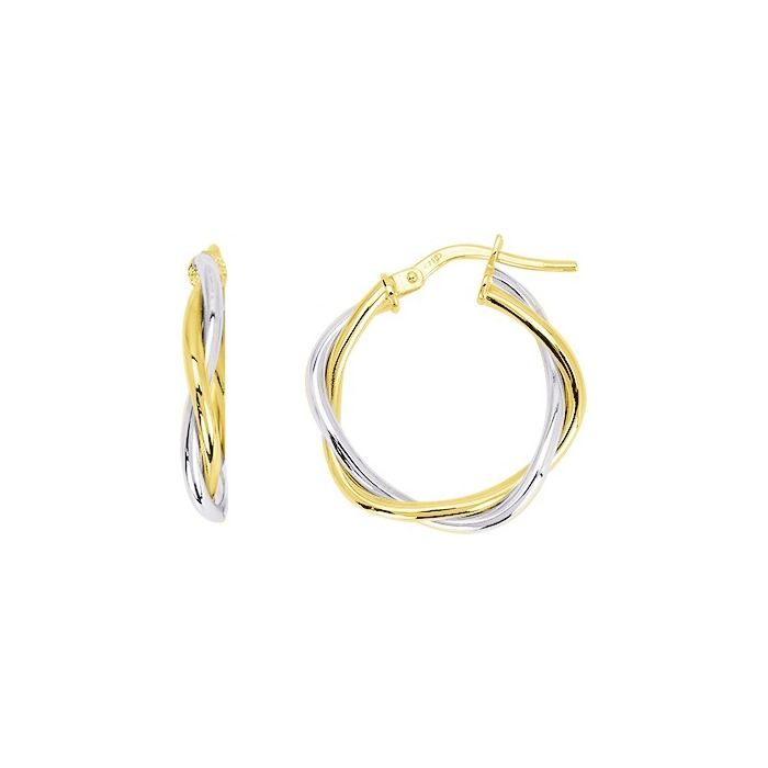 Boucles d'oreilles créoles torsadées en or jaune et or blanc