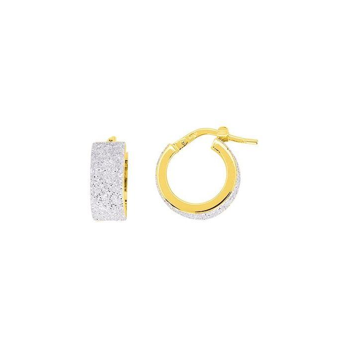 Boucles d'oreilles créoles en or jaune et vernis scintillant
