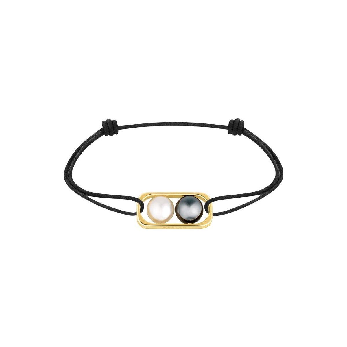 Bracelet sur cordon dinh van en or jaune, perle d'eau douce et perle d'hématite vue 1