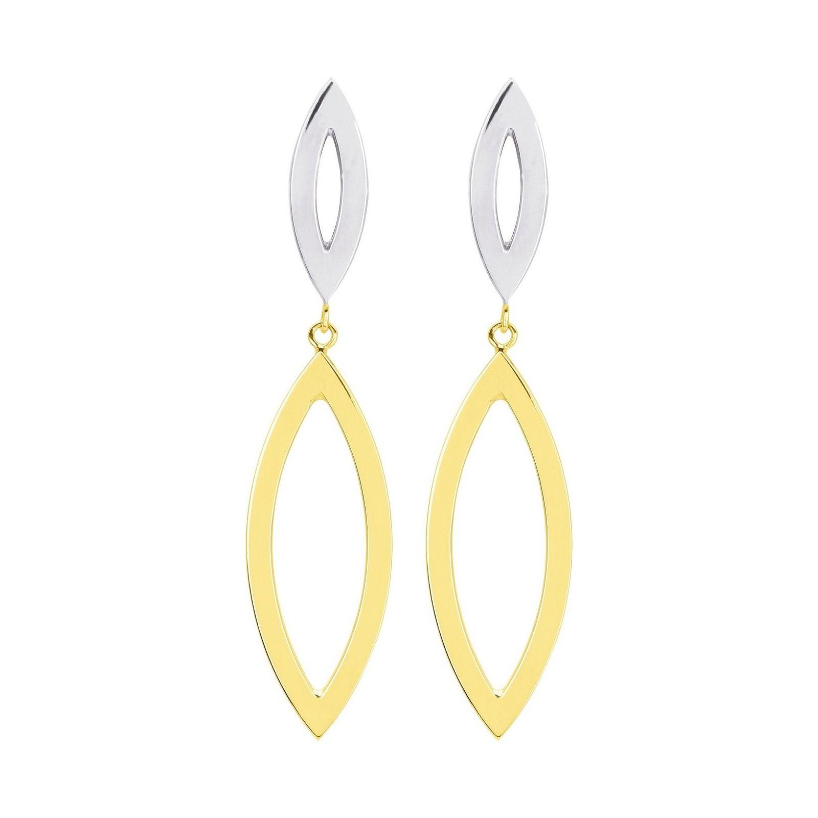 Boucles d'oreilles ovale en or blanc