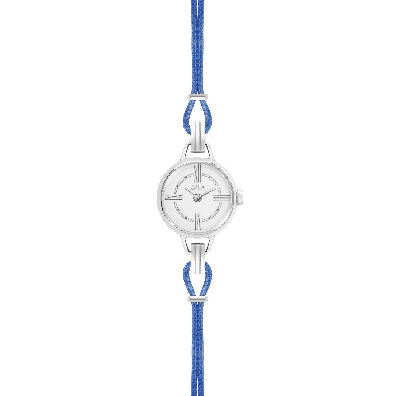 Bracelet de montre SILA en argent et coton, couleur bleu denim vue 2