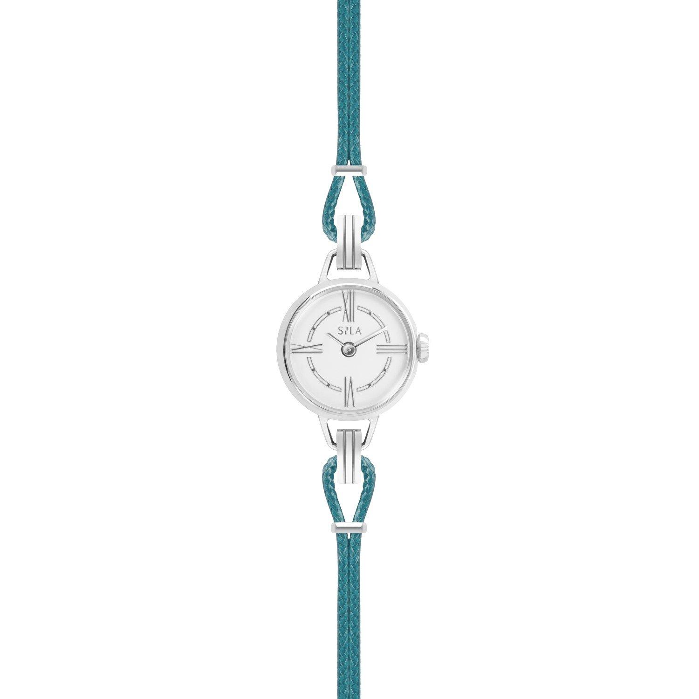 Bracelet de montre SILA en argent et coton, couleur bleu canard vue 2