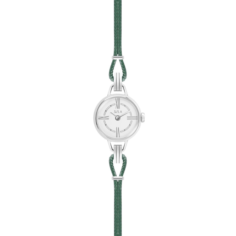Bracelet de montre SILA en argent et coton, couleur vert bouteille vue 2