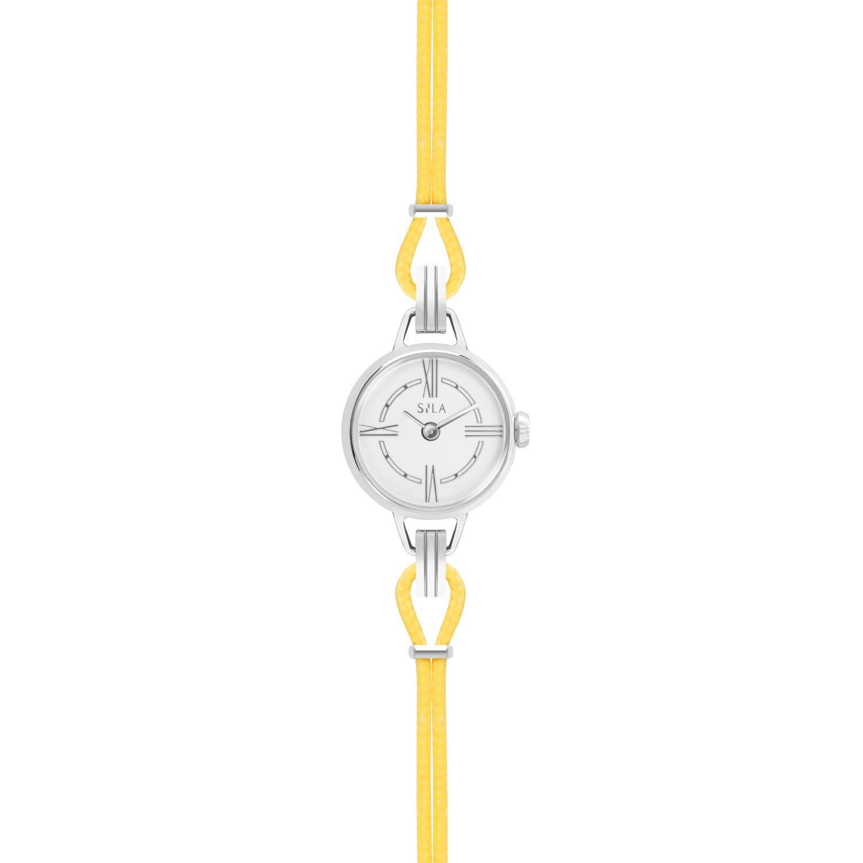 Bracelet de montre SILA en argent et coton, couleur jaune d'or vue 2