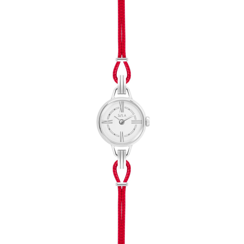 Bracelet de montre SILA en argent et coton, couleur rouge passion vue 2