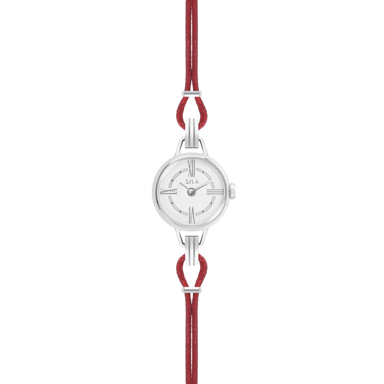 Bracelet de montre SILA en argent et coton, couleur rubis vue 2
