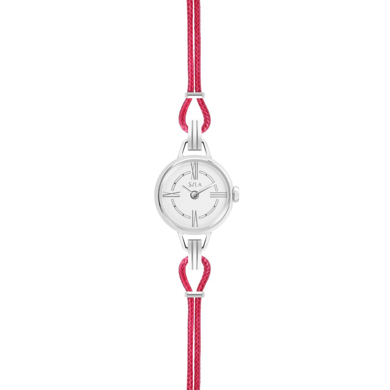 Bracelet de montre SILA en argent et coton, couleur rose indien vue 2