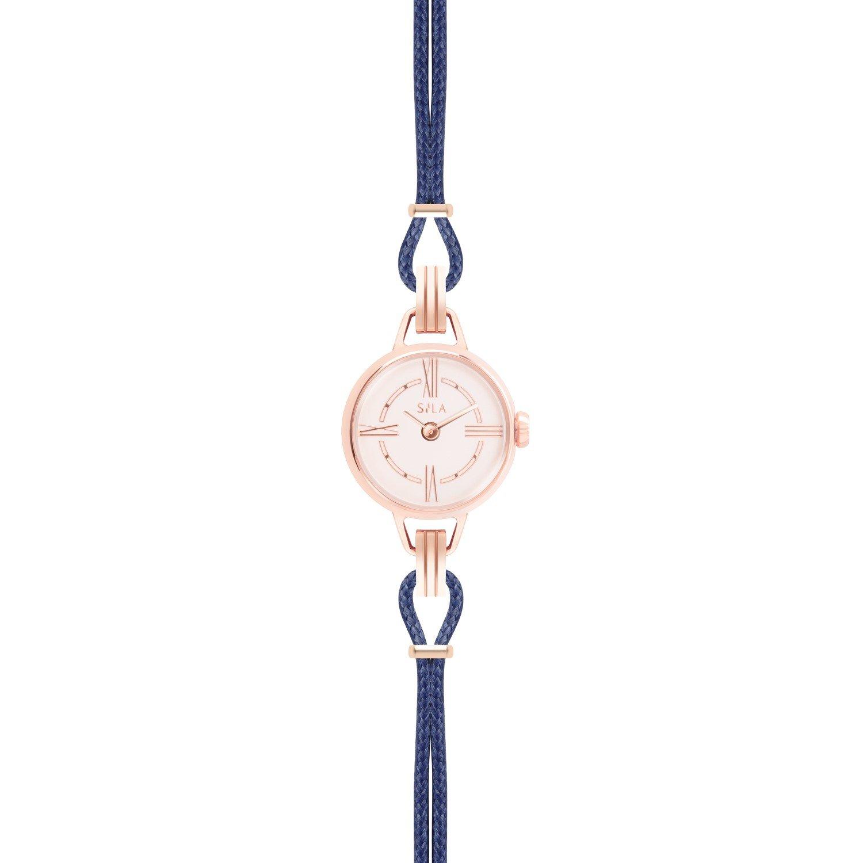 Bracelet de montre SILA en plaqué or rose et coton, couleur bleu de minuit  vue 2