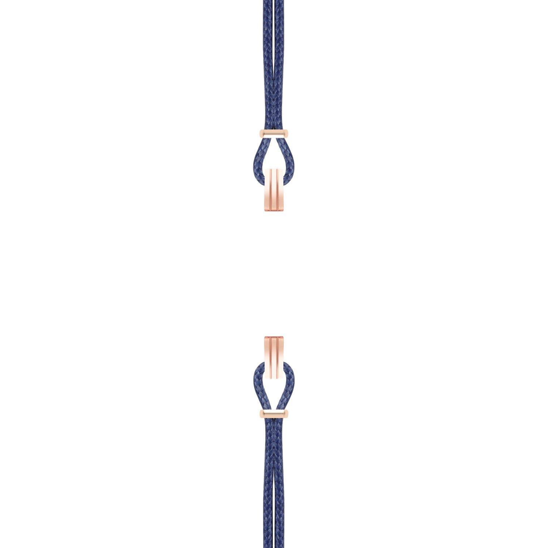 Bracelet de montre SILA en plaqué or rose et coton, couleur bleu de minuit  vue 1