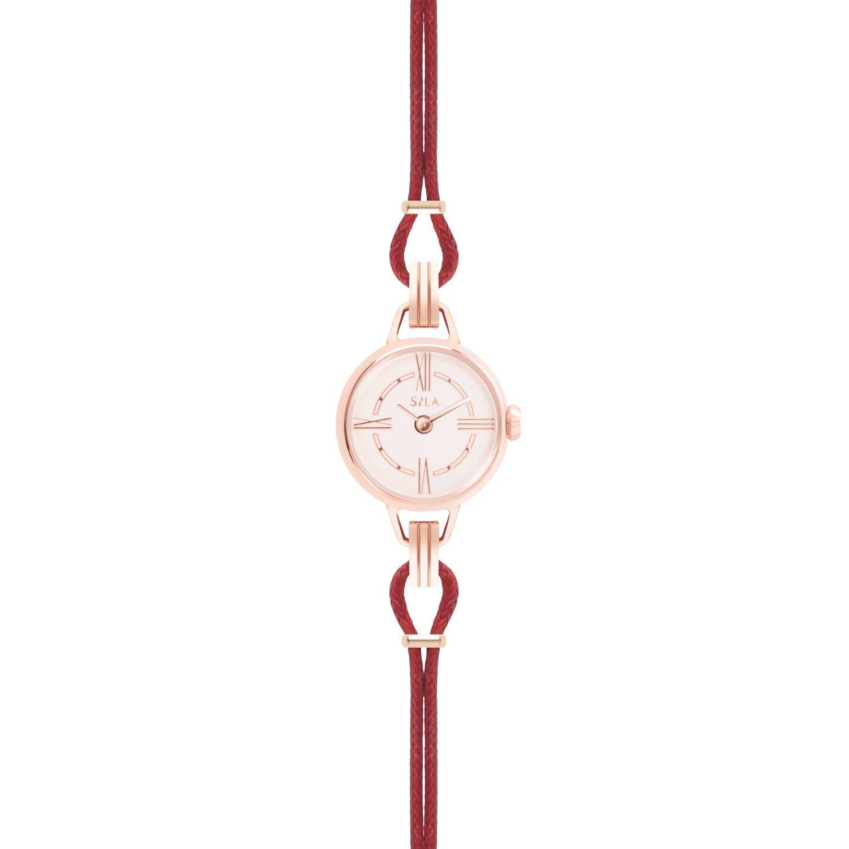 Bracelet de montre SILA en plaqué or rose et coton, couleur rubis vue 2