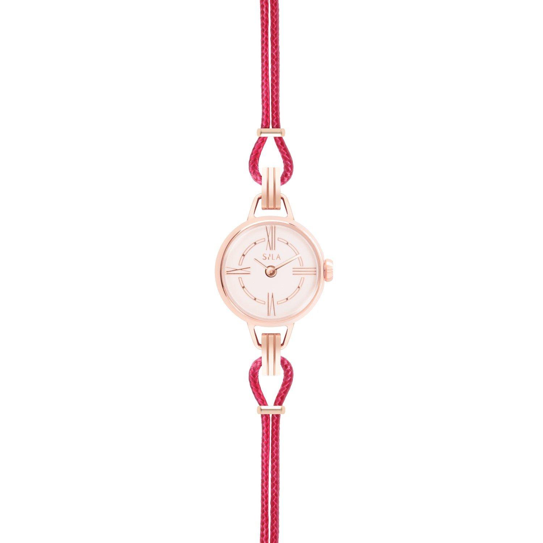 Bracelet de montre SILA en plaqué or rose et coton, couleur rose indien vue 2