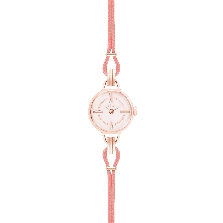 Bracelet de montre SILA en plaqué or rose et coton, couleur rose poudré vue 2