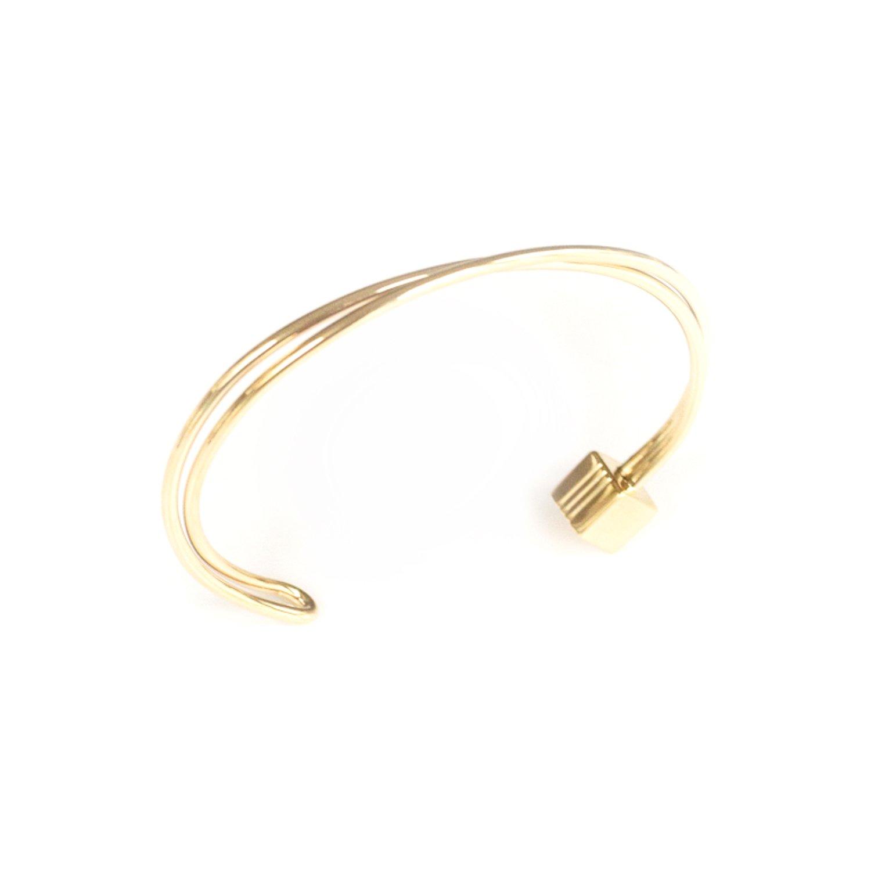 Bracelet jonc SILA en plaqué or jaune vue 2