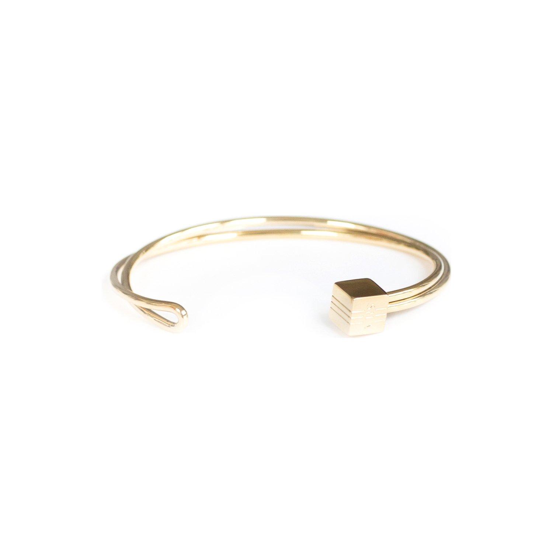 Bracelet jonc SILA en plaqué or jaune vue 1