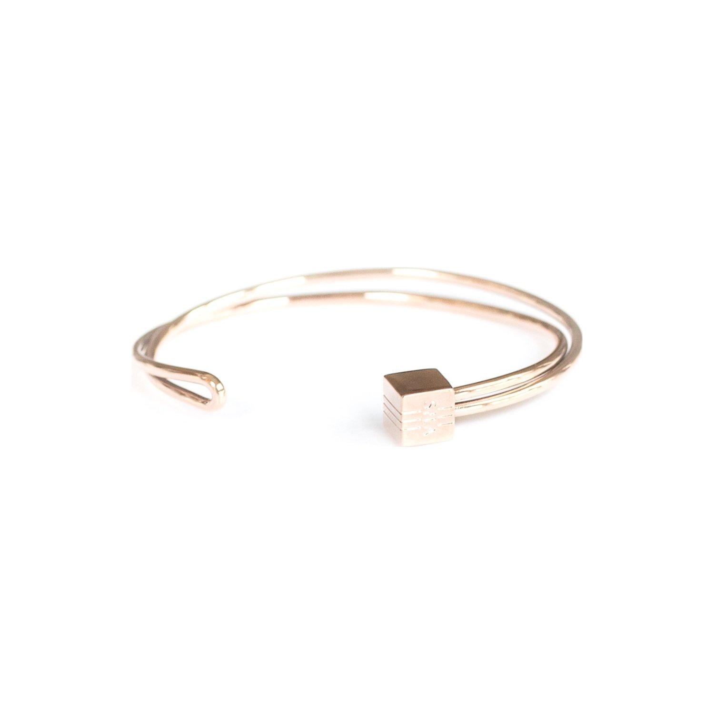 Bracelet jonc SILA en plaqué or rose vue 1