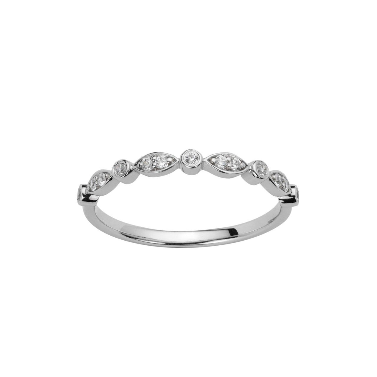 Alliance en or blanc et diamants de 0.13ct vue 1