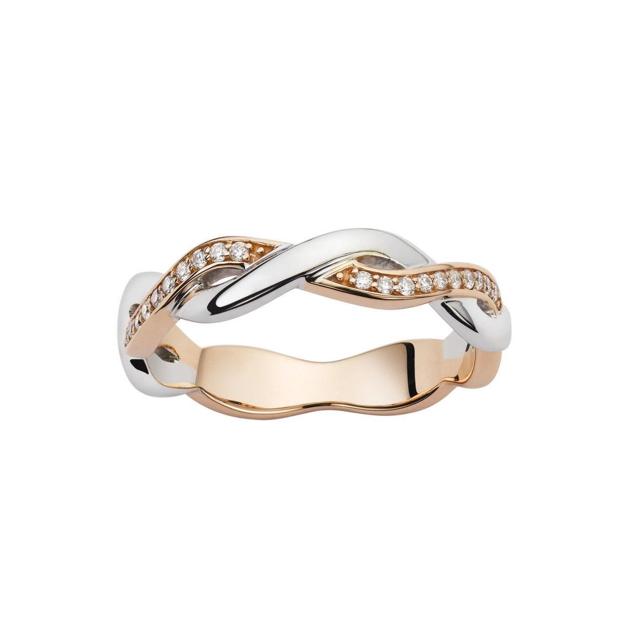 Alliance en or blanc, or rose et diamants de 0.10ct vue 1