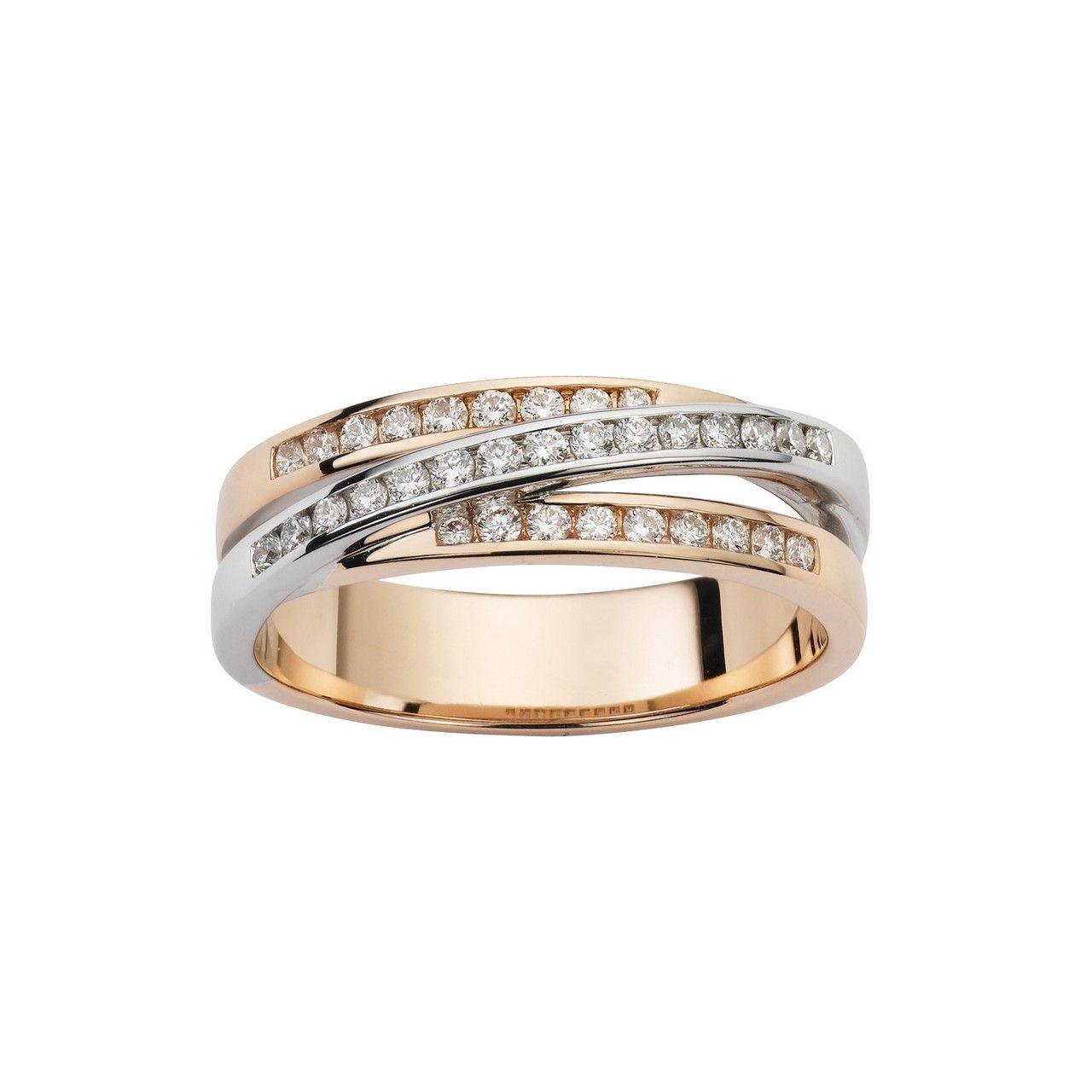 Bague en or blanc, or rose et diamants de 0.32ct