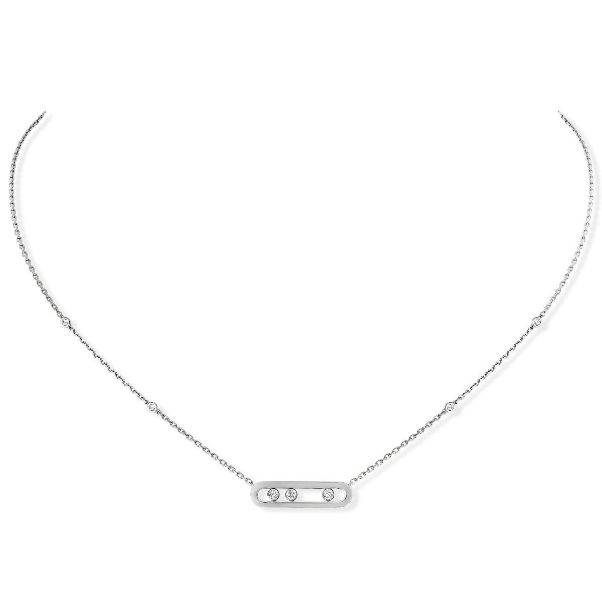 Collier Messika Move Classique Baby Move en or blanc et diamants vue 1